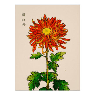 Vintage Japanese Chrysanthemum. Orange and Gold Poster