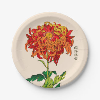 Vintage Japanese Chrysanthemum. Rust and Orange 7 Inch Paper Plate