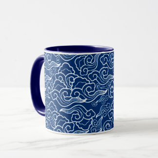 Vintage Japanese Clouds, Cobalt Blue and White Mug