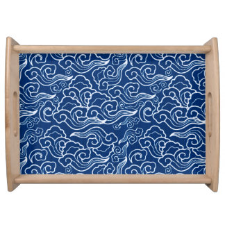Vintage Japanese Clouds, Cobalt Blue and White Serving Tray