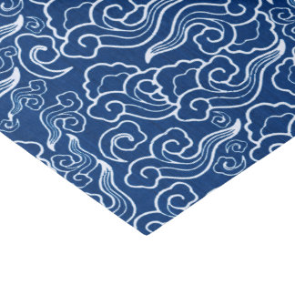 Vintage Japanese Clouds, Cobalt Blue and White Tissue Paper