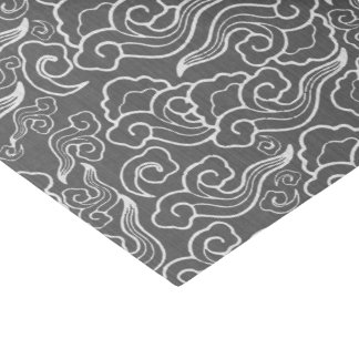 Vintage Japanese Clouds, Graphite Gray / Grey Tissue Paper