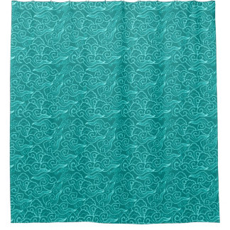 Vintage Japanese Clouds, Turquoise and Aqua Shower Curtain