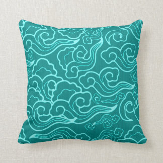 Vintage Japanese Clouds, Turquoise and Aqua Throw Pillow