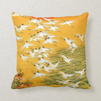 Vintage Japanese Cranes at Sunset Cushion