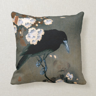 Vintage Japanese Crow and Blossom Woodblock Print Throw Pillow