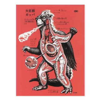 Vintage Japanese Cutaway Monster Postcard