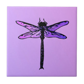Vintage Japanese Dragonfly, amethyst purple Small Square Tile