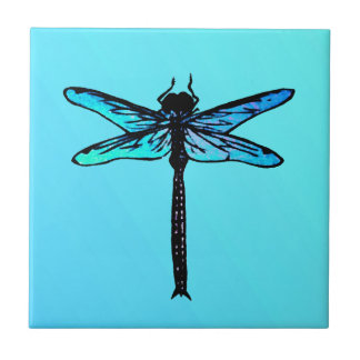 Vintage Japanese Dragonfly, turquoise blue Tile