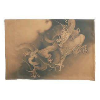 Vintage Japanese Dragons Battle Pillowcase