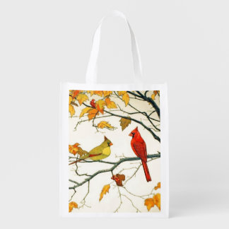 Vintage Japanese drawing, Cardinals on a branch Reusable Grocery Bag