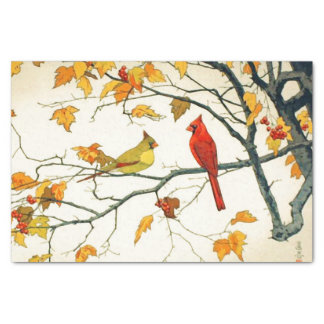 Vintage Japanese drawing, Cardinals on a branch Tissue Paper