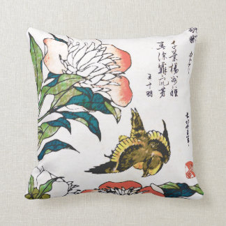 Vintage Japanese drawing, Peonies and Sparrow Cushion