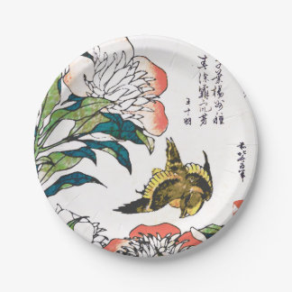 Vintage Japanese drawing, Peonies and Sparrow Paper Plate