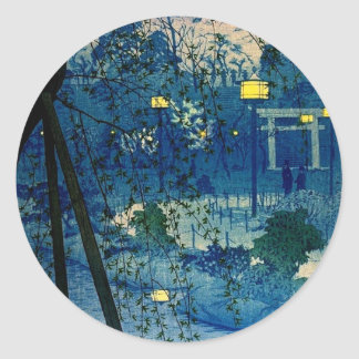 Vintage Japanese Evening in Blue Classic Round Sticker