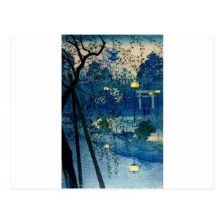 Vintage Japanese Evening in Blue Post Cards