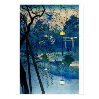 Vintage Japanese Evening in Blue Postcard