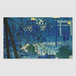 Vintage Japanese Evening in Blue Rectangular Sticker