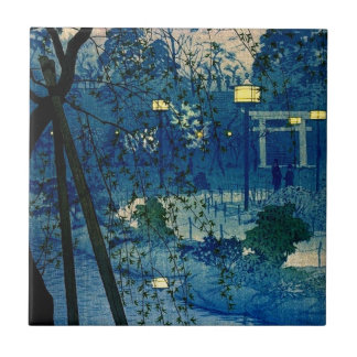 Vintage Japanese Evening in Blue Small Square Tile