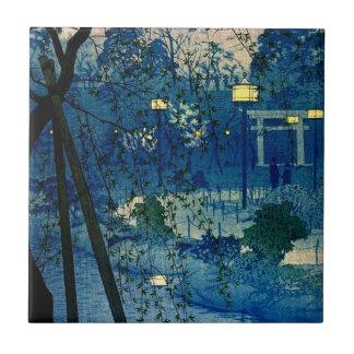 Vintage Japanese Evening in Blue Tile