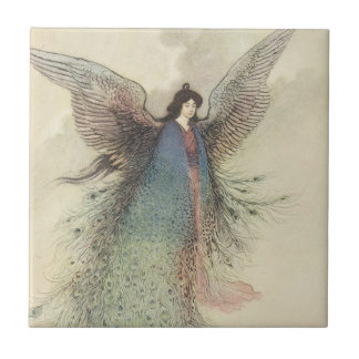 Vintage Japanese Fairy Tale, The Moon Maiden Small Square Tile