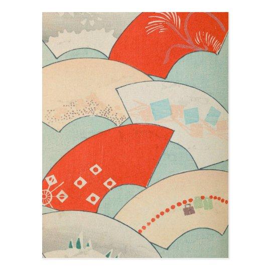 Vintage Japanese Fans Postcard