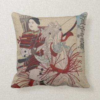 Vintage Japanese Female Warrior Hangakujo Pillow