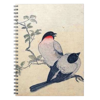 Vintage Japanese Finches Spiral Notebook