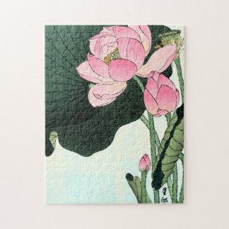 Vintage Japanese Fine Art | Lotus Flower Jigsaw Puzzle