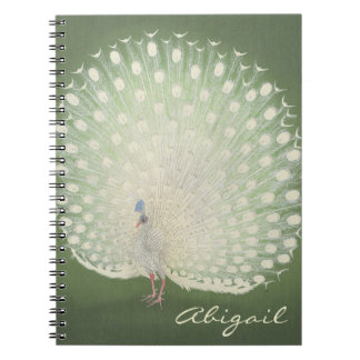 Vintage Japanese Fine Art | Peacock Personalized Spiral Notebook