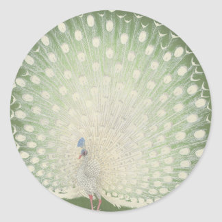 Vintage Japanese Fine Art | Peacock Round Sticker
