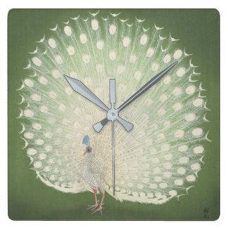 Vintage Japanese Fine Art | Peacock Square Wall Clock