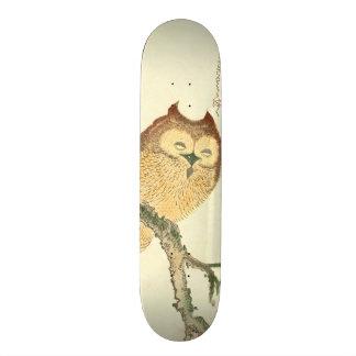 Vintage Japanese Fine Art Print | Owl on a Branch Skateboard