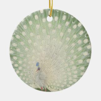 Vintage Japanese Fine Art | White Peacock Christmas Ornament