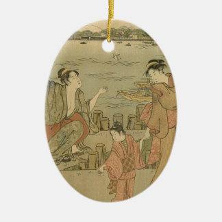 Vintage Japanese Fishing Woodblock Print Christmas Ornament