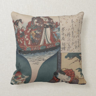Vintage Japanese Floating Bridge of Dreams Pillow