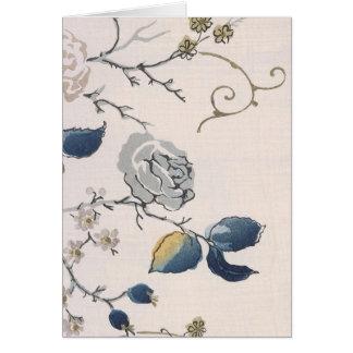 Vintage Japanese Floral Fabric Art 153 Greeting Card