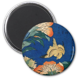 Vintage Japanese Flower Bird 6 Cm Round Magnet