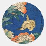 Vintage Japanese Flower Bird Round Sticker