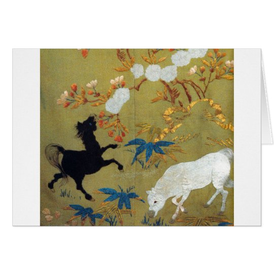 Vintage Japanese Foal and Cherry Blossoms Card