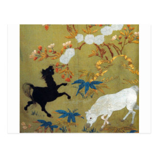 Vintage Japanese Foal and Cherry Blossoms Postcard