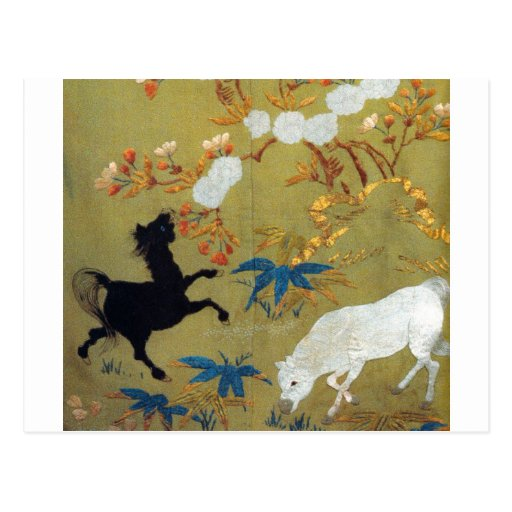 Vintage Japanese Foal and Cherry Blossoms Postcards
