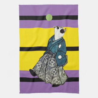 Vintage Japanese Footballer Art Cat Tea Towel