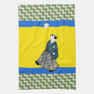 Vintage Japanese Footballing Cat Art Tea Towel