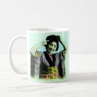Vintage Japanese Geisha Adjusting Her Hair Coffee Mug