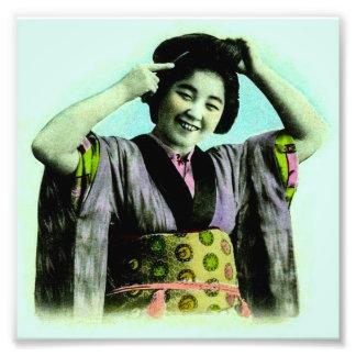 Vintage Japanese Geisha Adjusting Her Hair Photo Print