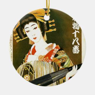 Vintage Japanese Geisha Art Round Ceramic Decoration