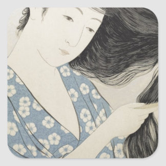 Vintage Japanese Geisha Girl Art Square Sticker