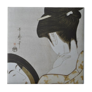 Vintage Japanese Geisha Girl Art Tile