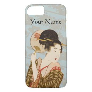 Vintage Japanese Geisha Girl with Fan iPhone 7 Case